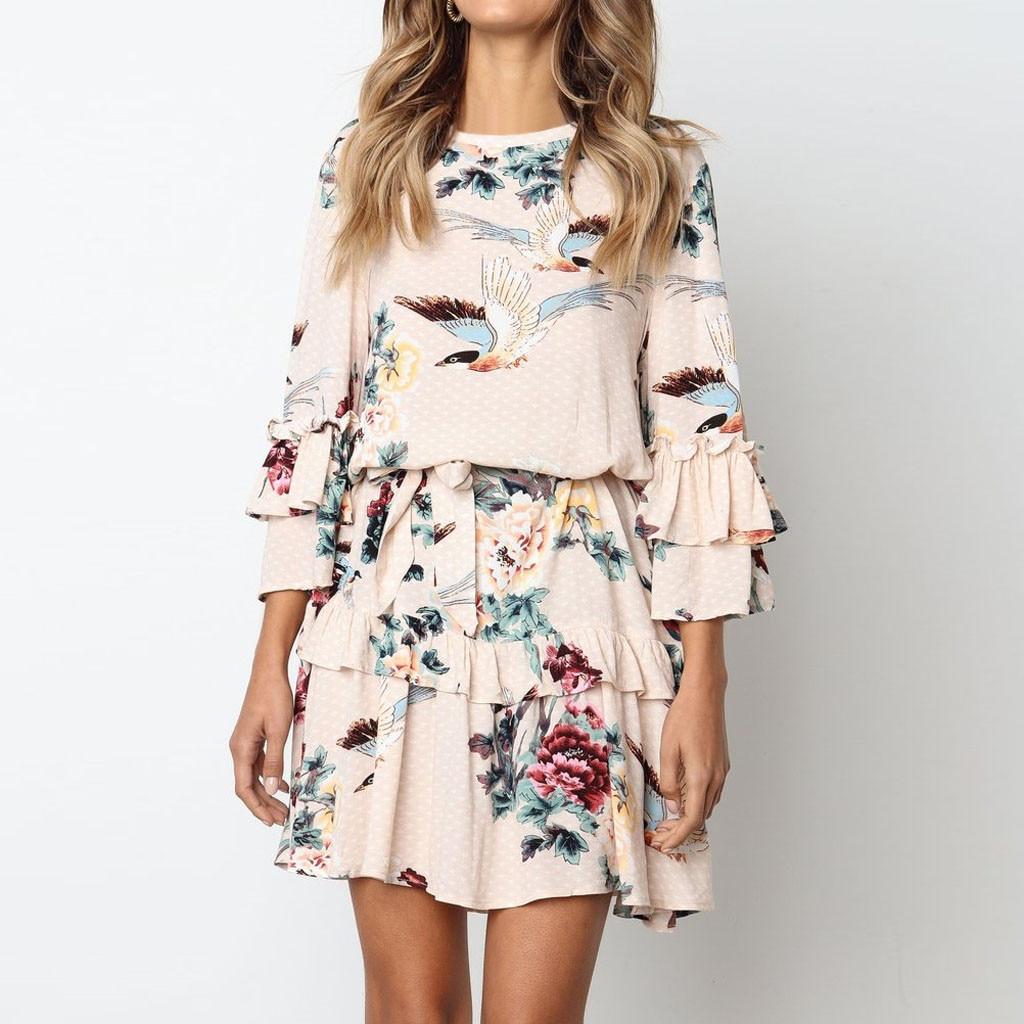 Women Ruffles Printing O Neck Long Sleeve Dress Evening Party Dress Women Mini Boho Floral Dress 2020 Autumn Robe Longue Femme
