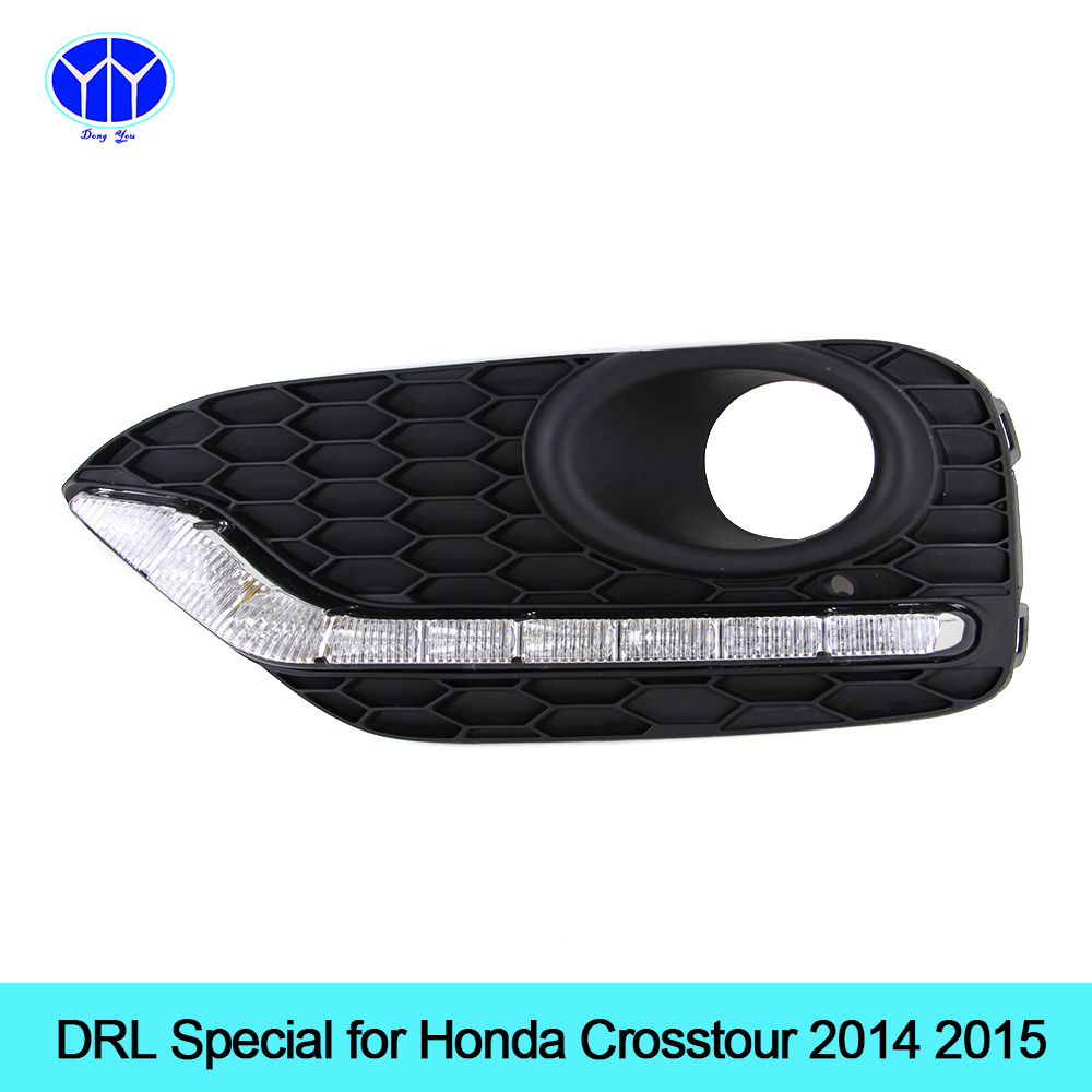 Car DRL kit for Honda Crosstour 2014 2015 LED Daytime Running Light bar Super bright fog auto lamp bulb daylight car led drl 12v new car drl kit for toyota vios 2014 2015 led daytime running light bar turn signal fog auto lamp bulb daylight for car led drl