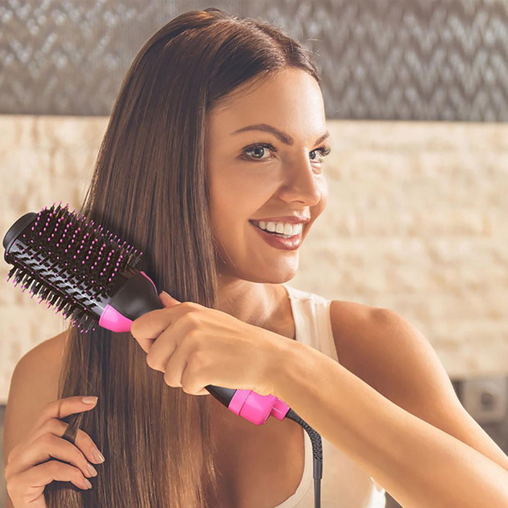Hot Hair Brush Curler Straightener Roller Dryer Rotating Comb Styling Flat Iron Multifunctional CW29