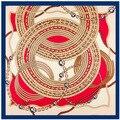 ¡ Nuevo!! 100x100 cm Sarga de seda bufanda cuadrada Brújula patrón cadena de metal marca mujeres foulard bufanda bufandas chales