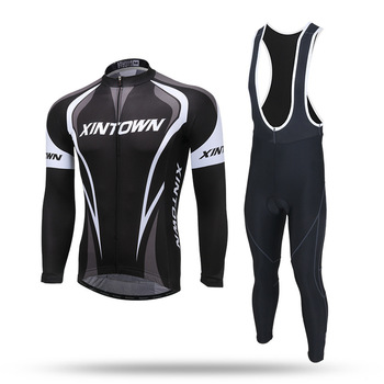 XINTOWN Pro Team Winter Thermal Fleece Cycling Clothe Long Sleeve Jersey Suit Outdoor Riding Bike MTB Clothing Bib Pants Set