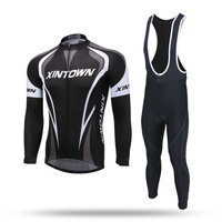 XINTOWN Pro Team Winter Thermal Fleece Cycling Clothe Long Sleeve Jersey Suit Outdoor Riding Bike MTB Clothing Bib Pants Set