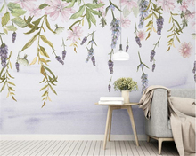 beibehang Modern personality wallpaper Nordic minimalist small fresh green leaves floral watercolor style background wall paper