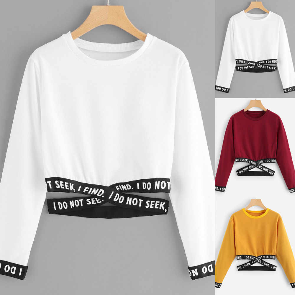 2019 frauen Langarm Lose Kurz Crop Tops Brief Drucken Hoodies Sweatshirts Casual Outwear Herbst Pullover Streetwear tops # K20