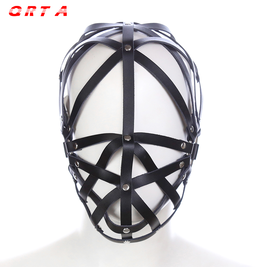 Buy QRTA PU Leather Hood Mask Headgear Bondage Slave Restraint Belt Adult Games Couples Fetish Sex Toys Women Men Gay