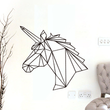 Geometric Unicorn Wall Stickers Animals Horse Head Vinyl Decals Removable Home Decor Kids Rooms New Design