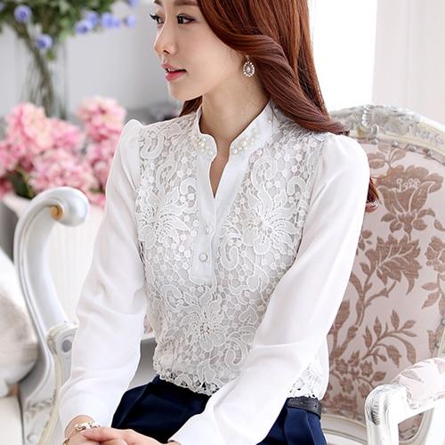 db0b62ba7 2015 chegada nova Real Tops sólidos Blusa Feminina Blusa de renda Plus Size  Feminina camisa de