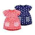 Little maven brand new girls verano o-cuello corto moda encantadores conejos calidad de algodón lindo informal de punto mini vestidos