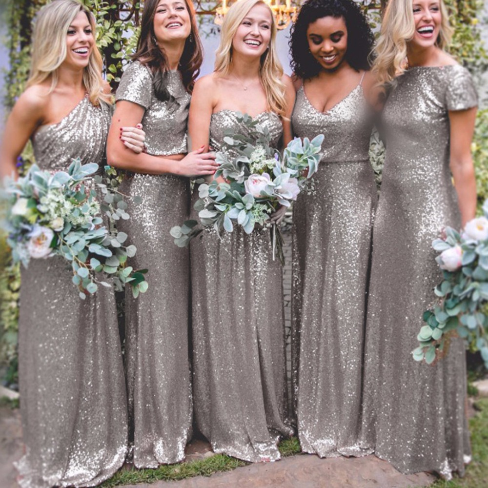 Grey Glitter Bridesmaid Dresses Wedding Gallery Nice Silver Sparkly