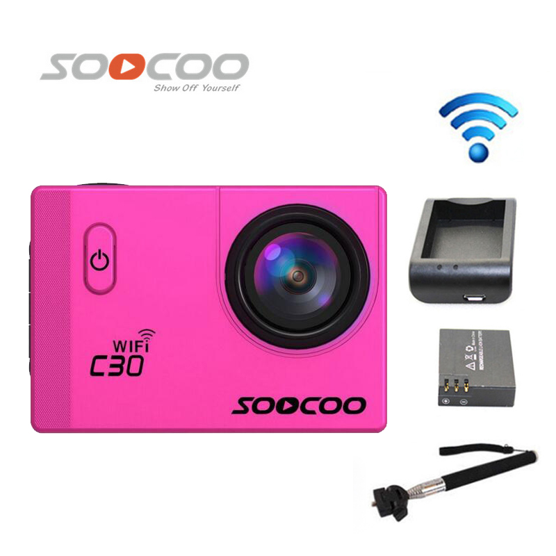 Free Shipping!!SOOCOO C30 Wifi Ultra 2K 2.0 Screen Waterproof Outdoor Sports Camera +Extra 1pcs battery+Battery Charger+Monopod стоимость
