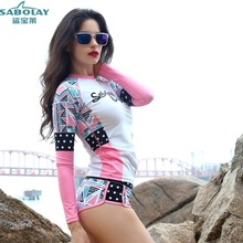 SABOLAY Ms Geometric patterns Beach clothes Snorkeling water service Surfing suits Sun protection swimsuit Jelly clothing