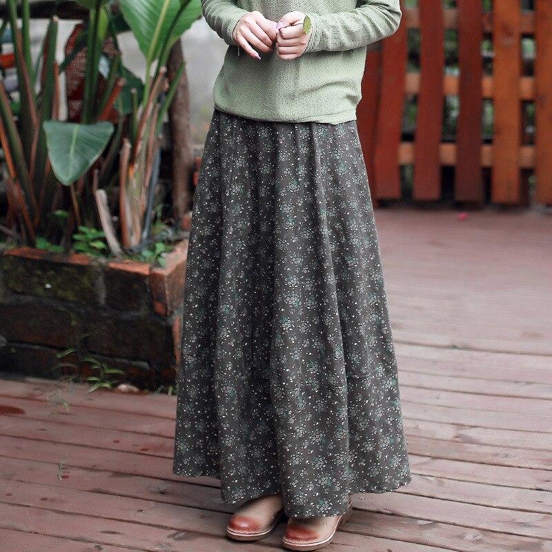 ฤดูร้อนกระโหลกMoriสไตล์4สีดอกไม้ผู้หญิงผ้าฝ้ายผ้าลินินจีบกระโปรง,ฤดูใบไม้ผลิสดสุภาพสตรียาวข้อเท้าความยาวกระโปรงโคมไฟ-ใน กระโปรง จาก เสื้อผ้าสตรี บน AliExpress - 11.11_สิบเอ็ด สิบเอ็ดวันคนโสด 1