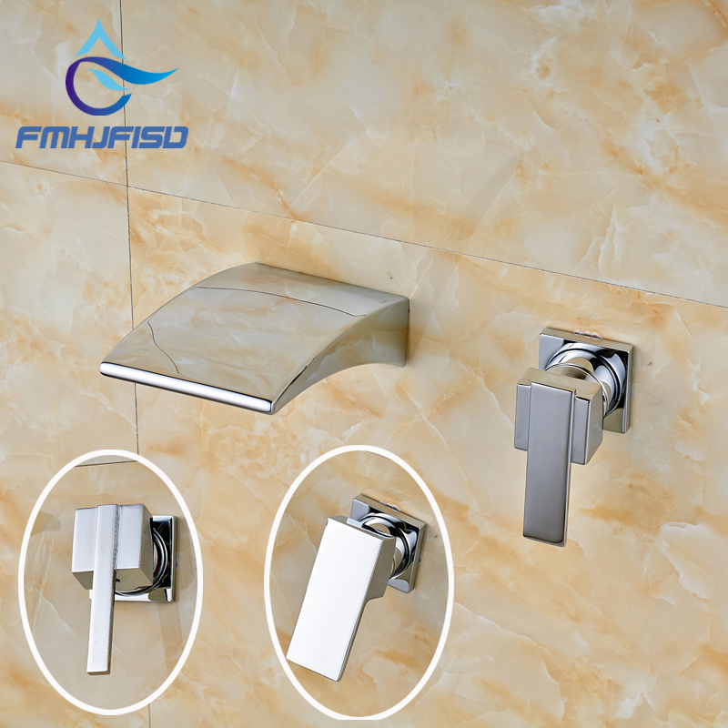 Chrome Finish Wall Mounted Waterfall Widespread Spout with Single Handle Bathroom Faucet niko 50pcs chrome single coil pickup screws