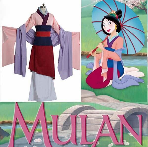 Անվճար առաքում մեծահասակների կանանց կինոնկար Hua Mulan Princess Dress զգեստները Fance Carnival Halloween Party Cosplay զգեստները