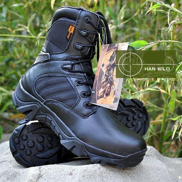 Couro genuíno Masculino commando deserto botas para o inverno Martin botas Homens sapatos de alta-top botas ferramental militar A205