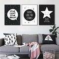 Современный Черный Белый Nordic Kawaii Звезда Цитирует Арт Принт Плакат, Панно Питомник Холст Картина Без Рамки Украшение Детской Комнаты