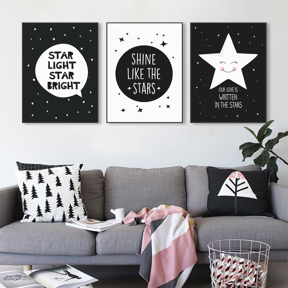Black And White Kids Room: Modern Black Kawaii Star Quotes Art Print Poster A4 Wall