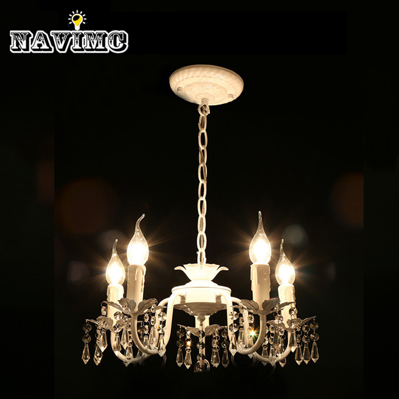 White Iron Crystal Chandelier Modern Lighting Fixture For