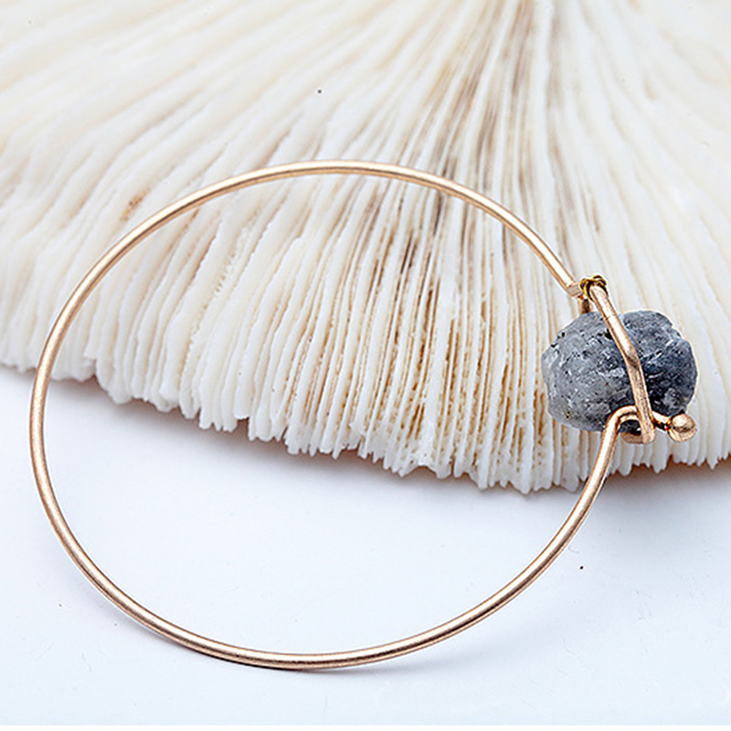 Dayoff 1PC Fashion Jewelry Simple Natural Stone Druzy Open Bracelet Bangle Women Gold Color Minimalist Hand Cuff Braceles DB21