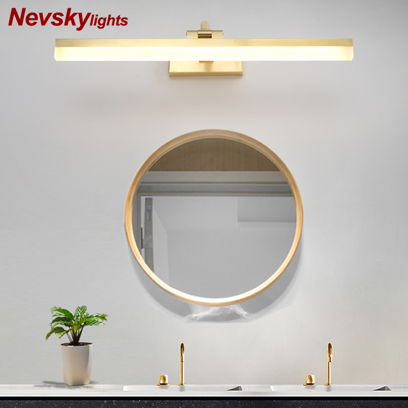 LED Wall Lamp For Bedroom Modern Mirror Lights copper Wall Sconce brass Luminaira Bedside Lights Wall Mount Reading Light