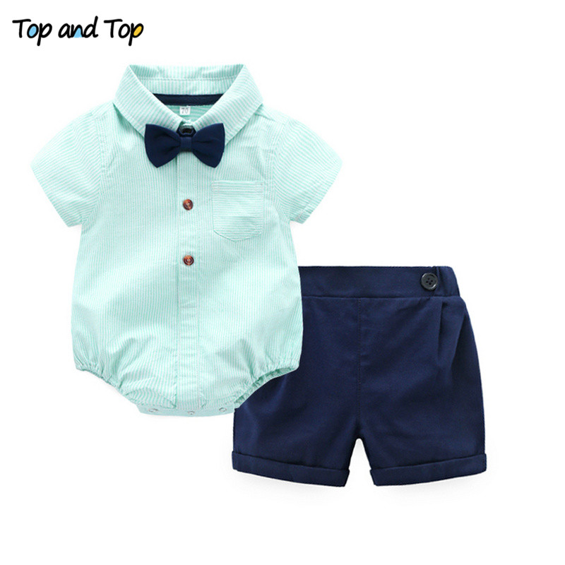 Top and Top Summer Baby Boys Gentleman Striped Clothes Sets Cotton Short Sleeve Rompers Shirts + Shorts + Bow Tie 3pcs/set