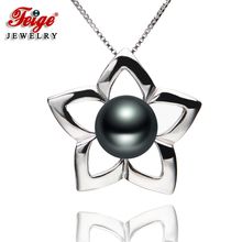 Pentagram-shaped Pearl Pendant Necklaces 8-9mm Black Freshwater Pearls 100% Real 925 Silver Womens Fine Jewelry