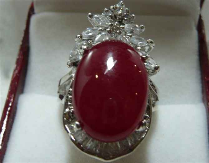 Wan ++++ของผู้หญิงlatstes Vogueแดงหยกแหวนขนาด: 7-9 5.29