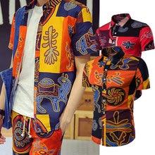 Print Shirt Short-Sleeve Button-Up Ethnic-Style Street INCERUN Retro Vintage Men Tops