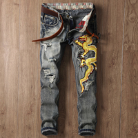 Mens Fashion Embroidery Decoration Jeans,High Quality Chinese Style Slim Fit Cotton Ripped Denim Pants For Men ,REASARD BRAND