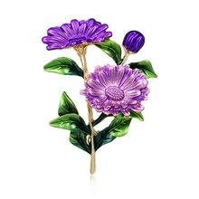 Baiduqiandu, 3 цвета, эмаль, хризантема, цветок ромашки, брошь на булавке для женщин, девушек, сделай сам, для банкета, вечеринки, на булавке, модное ювелирное изделие
