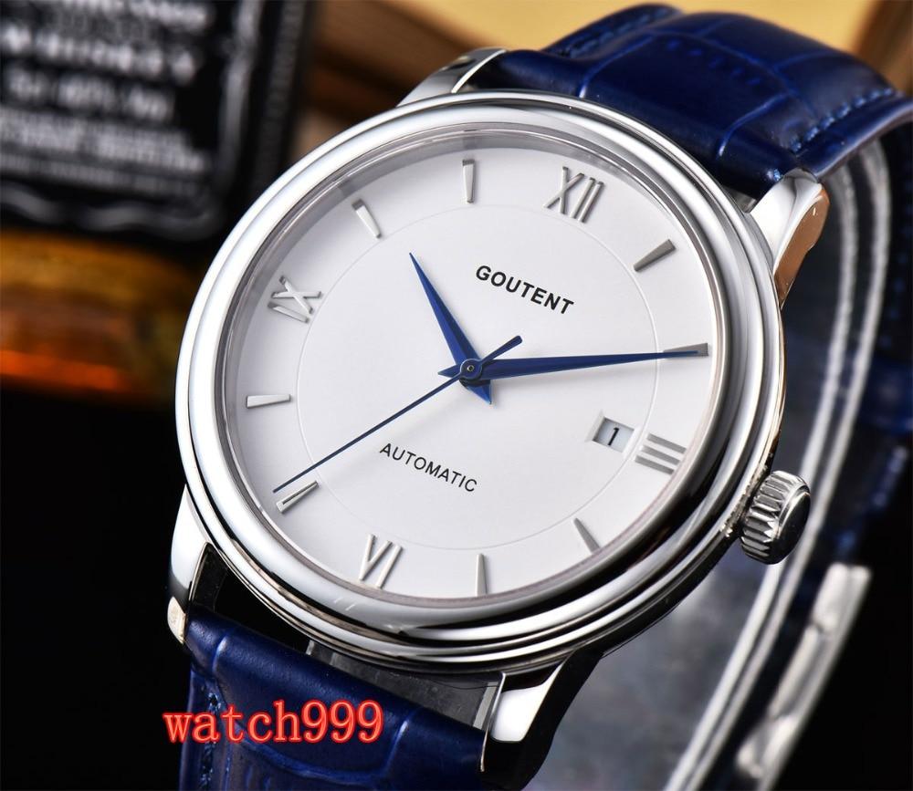 40mm Goutent horloge date Blanc Saphir cristal Lumineux bracelet En Cuir Miyota Automatique Mens Montre40mm Goutent horloge date Blanc Saphir cristal Lumineux bracelet En Cuir Miyota Automatique Mens Montre