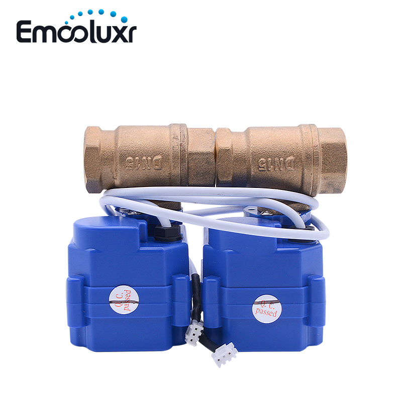 Double Brass Valve DN15, DN20, DN25 Electric Cranes With 2 Wires(CR01) For Water Leakage Detection Alarm System WLD-807