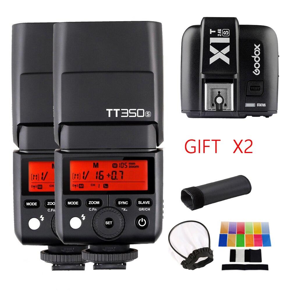 2X Godox TT350S blesk Speedlite 2.4G HSS TTL GN36 Fotoaparát + přenosný vysílač X1T-S pro zrcadlovky Sony A7R A58 A6000 A6500 DSLR