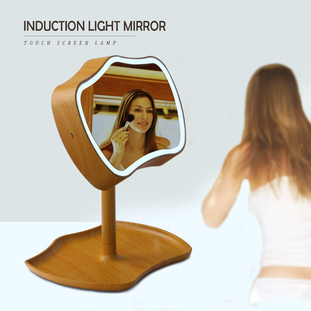 bathroom LED Light Makeup Mirror Touch Screen Portable Vanity Tabletop Lamp Cosmetic Mirror Make Up LED Mirror Or LED Light usb led makeup mirror maquiagem double sided wireless charge for phone led touch screen amplifier make up mirror cosmetics tool