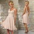Modest Light Pink Lace Bridesmaid Dress for Girls  2015 Chiffon Knee Length Wedding Guest Wear V Neck Back Vestidos de Fiesta