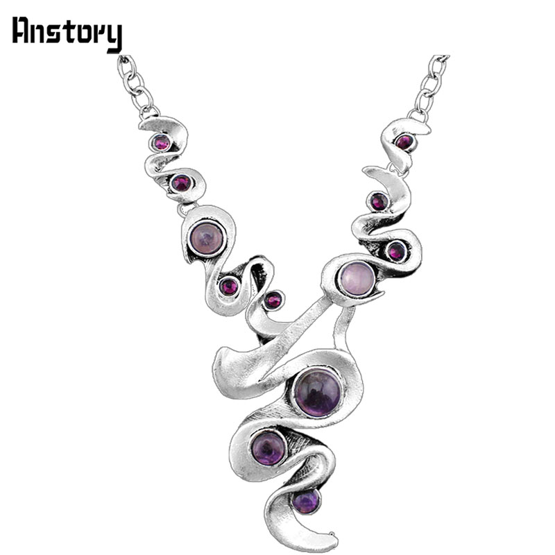 Casecade Pendant Natural Purple Stone Necklace For Women Vintage Antique Silver Plated Wedding Party Gift N104 protective silver plated plastic back case for iphone 4 4s purple silver