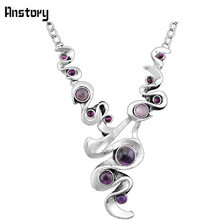 Casecade Pendant Natural Stone Amethysts Necklace For Women Vintage Antique Silver Plated Wedding Party Gift N104(China)