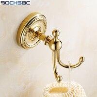 European Carving Towel Hook Bathroom Hardware Hanging Hook Wall Mount Antique Round Base Towel Rack Robe Hook Gold Plated