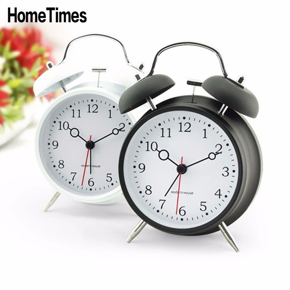 Vintage 3D Metal Jow Alarm Clock Double Bell Desk Clocks Twin Ring Clock Home Office Mute Night Light Clock -FT