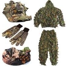 CS 3D лист Yowie Снайпер одежда 4 шт. Ghillie костюм+ джунгли кепки камуфляжные перчатки+ шарф для военной охоты