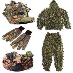CS 3D Leaf Yowie Sniper เสื้อผ้า 4pcs Ghillie สูท + หมวก Jungle + Camouflage ถุงมือ + ผ้าพันคอสำหรับทหารการล่าสัตว์
