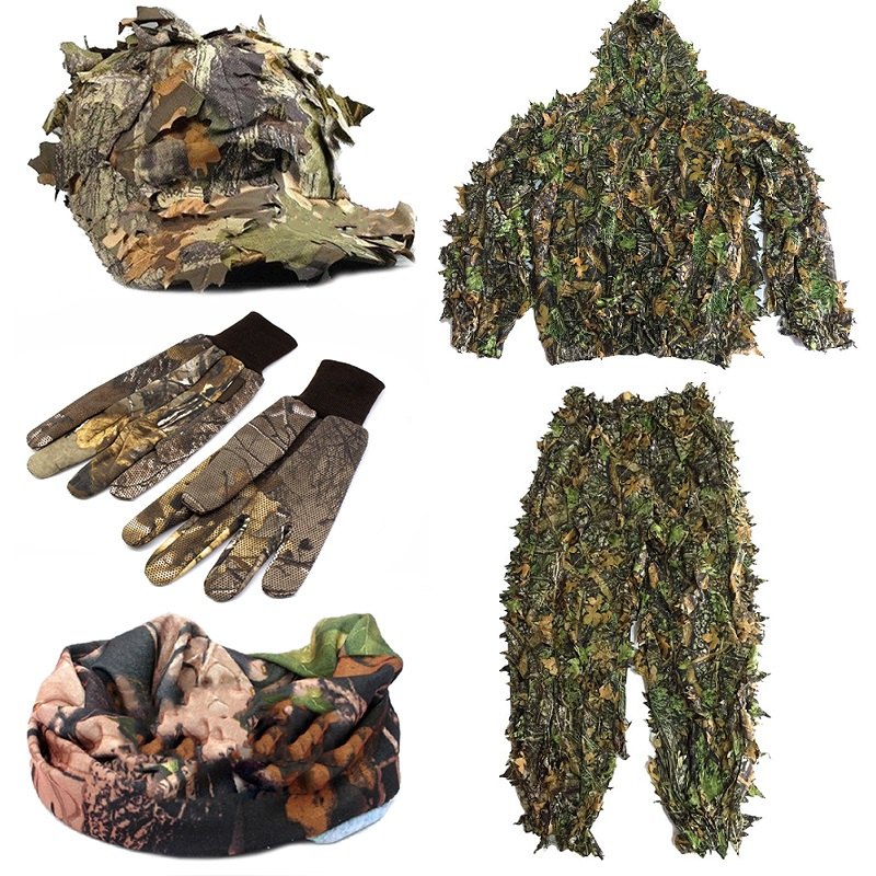 CS 3D Leaf Yowie Sniper Clothes 4pcs Ghillie Suit+ Jungle Cap + Camouflage Glove + Scarf  for Military Hunting-in Hunting Ghillie Suits from Sports & Entertainment    1