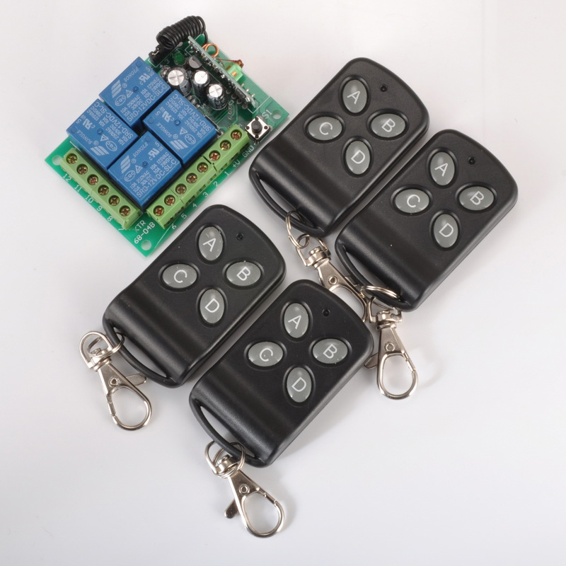 DC12V 4CH RF Wireless Remote Control System Smart Home Switch Transmitter Receiver With Learning Function