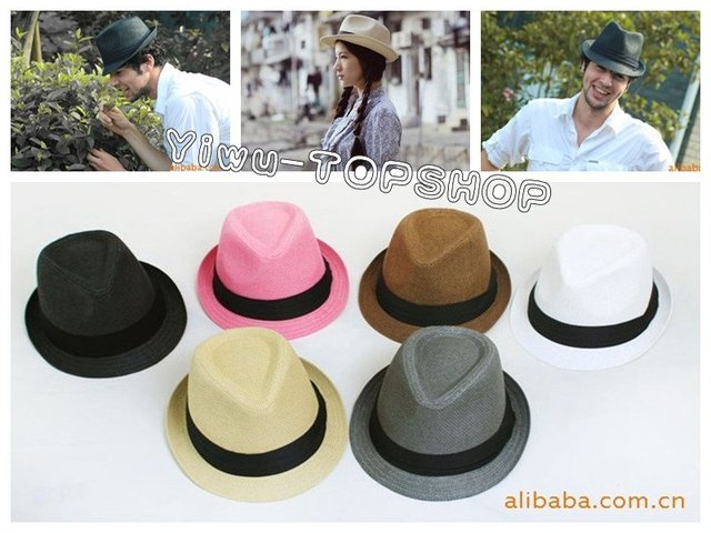 Free shipping Classic Vogue unisex woman men Fedora hat Panama hat straw hat summer hat sun hat beach straw hats multicolor