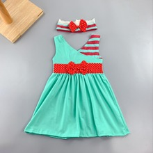 Ancient China neck style Summer and Autumn striped pattern abutment cloth Baby Girls green Dress Apparel Accessory