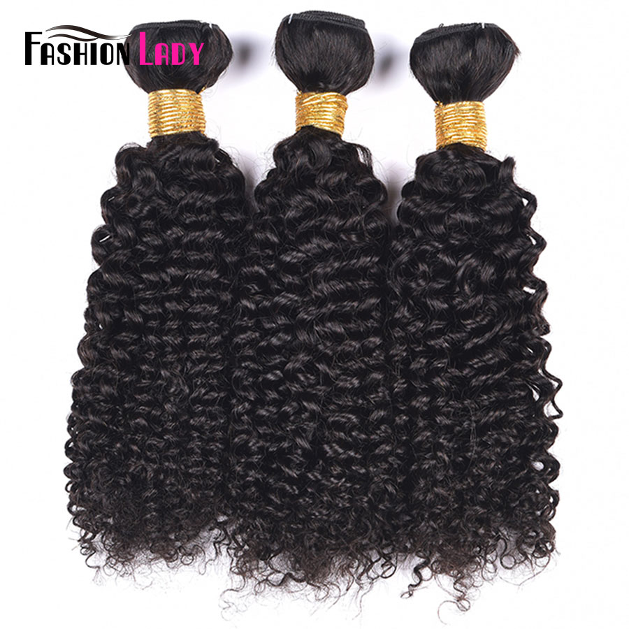 Fashion Lady Pre-colored Brazilian Hair Weave Bundles Kinky Curl Bundles 3Pcs Human Hair Weave Natural Color Non-remy