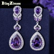 European American Style Luxury Purple Amethyst Earrings Classic Pear Brilliant Cut Drop Earring With Cubic Zirconia Stones E024