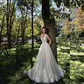 Deep V Neck Sequin Beaded Shinny Designer Style Wedding Dresses Low Back Luxury Bridal Gown Made to Order