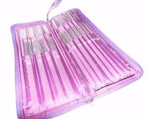 Image 2 - 104 adet paslanmaz çelik düz iğne dairesel iğneler örme İğneler tığ kanca örgü çanta ile Set dikiş iğnesi kitleri