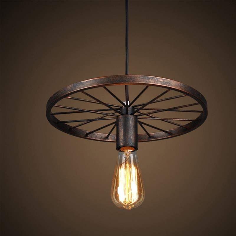 Eeg lighting retro antique metal art large barn wheels hanging eeg lighting retro antique metal art large barn wheels hanging pendant lights e27 holder ceilight lights black and rust finish in pendant lights from lights mozeypictures Images